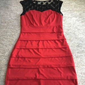 Layered Red Cocktail Dress with Black Polkadot Top